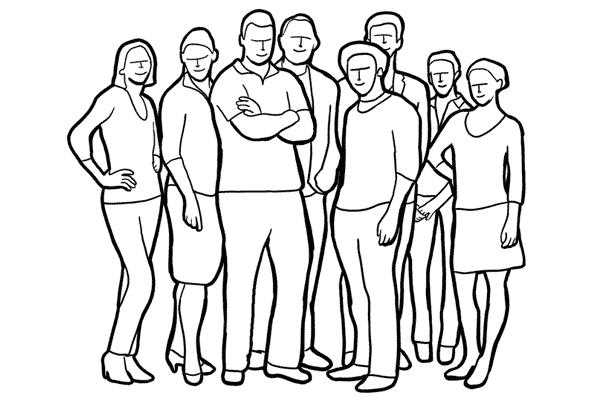 kaip pozuoti grupei